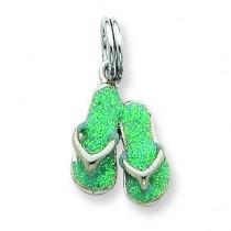 Green Enamel Flip Flops Charm in Sterling Silver