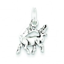 Antiqued Alaska Moose Charm in Sterling Silver
