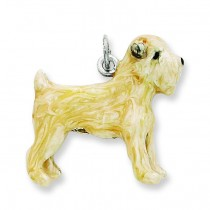 Silver Enamel Soft Coated Wheaton Terrier Charm in Sterling Silver