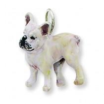 Silver Enamel French Bulldog in Sterling Silver