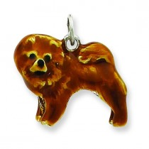 Chow Dog Charm in Sterling Silver