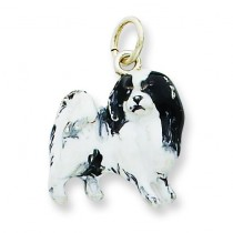 Silver Enamel Japanese Chin Charm in Sterling Silver