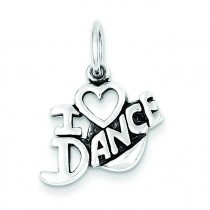 Antiqued I Love Dance Charm in Sterling Silver