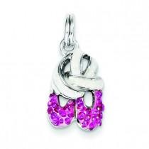 Pink CZ Enamel Ballet Slipper Charm in Sterling Silver