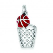 Enamel Basketball Hoop Charm in Sterling Silver