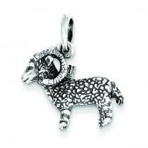 Antiqued Aries Pendant in Sterling Silver