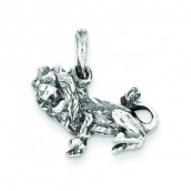 Antiqued Leo Pendant in Sterling Silver