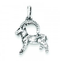 Antiqued Capricorn Pendant in Sterling Silver
