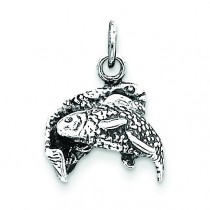 Antiqued Pisces Pendant in Sterling Silver