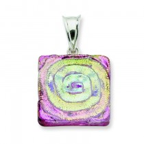 Pink Dichroic Glass Square Pendant in Sterling Silver