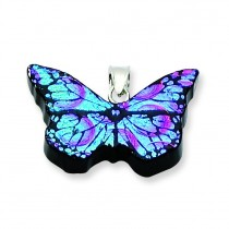 Blue Dichroic Glass Butterfly Pendant in Sterling Silver