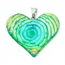 Blue Green Dichroic Glass Heart Pendant in Sterling Silver