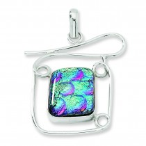 Multicolor Dichroic Glass Fancy Pendant in Sterling Silver