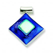 Blue Dichroic Glass Diamond Shaped Pendant in Sterling Silver