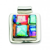 Multicolor Dichroic Glass Square Pendant in Sterling Silver