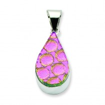 Pink Dichroic Glass Teardrop Pendant in Sterling Silver