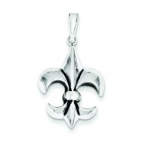 Antiqued Fleur De Lis Pendant in Sterling Silver