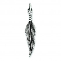 Antiqued Feather Pendant in Sterling Silver
