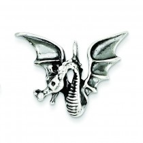 Antiqued Dragon Pendant in Sterling Silver