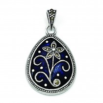 Marcasite Blue Enamel Teardrop Flower Pendant in Sterling Silver