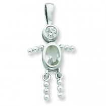 CZ April Glass Boy Pendant in Sterling Silver
