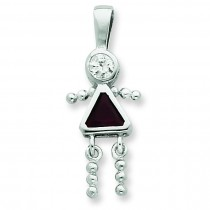 CZ January Glass Girl Pendant in Sterling Silver