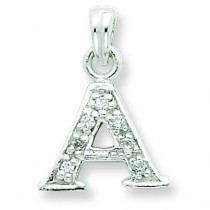 CZ Initial A Pendant in Sterling Silver