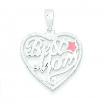 Best Mom Heart Pendant in Sterling Silver