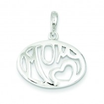 Oval Mom Pendant in Sterling Silver