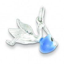Blue Enamel Stork Charm in Sterling Silver
