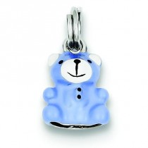Blue Enamel Teddy Bear Charm in Sterling Silver