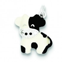 CZ Brown White Cow Charm in Sterling Silver