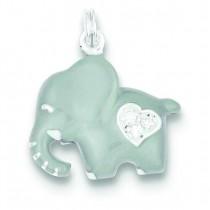 CZ Grey Elephant Charm in Sterling Silver