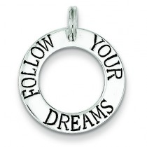 Follow Your Dreams Circle Charm in Sterling Silver