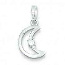 CZ Moon Pendant in Sterling Silver