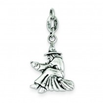 Antiqued Witch Slide Pendant in Sterling Silver