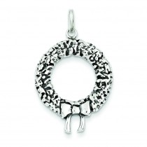 Antiqued Christmas Wreath Charm in Sterling Silver