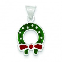Christmas Wreath Charm in Sterling Silver