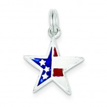 Red White Blue Star Charm in Sterling Silver