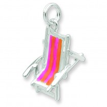 Enamel Beach Chair Charm in Sterling Silver