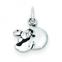 Baby Turtle In Egg Charm in Sterling Silver