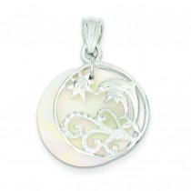 Dolphin Waves Mother Of Pearl Pendant in Sterling Silver