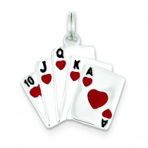 Enamel Royal Flush Charm in Sterling Silver