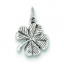 Antiqued Leaf Clover Charm in Sterling Silver