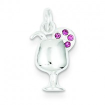Pink Preciosa Accented Wine Glass Charm in Sterling Silver