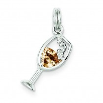 CZ Champagne Glass Charm in Sterling Silver