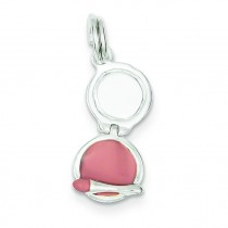 Enamel Compact Makeup Mirror Charm in Sterling Silver