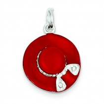 CZ Enamel Hat Charm in Sterling Silver