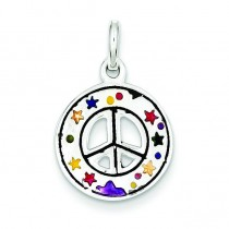 Peace Sign Charm in Sterling Silver