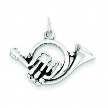 Antiqued French Horn Charm in Sterling Silver